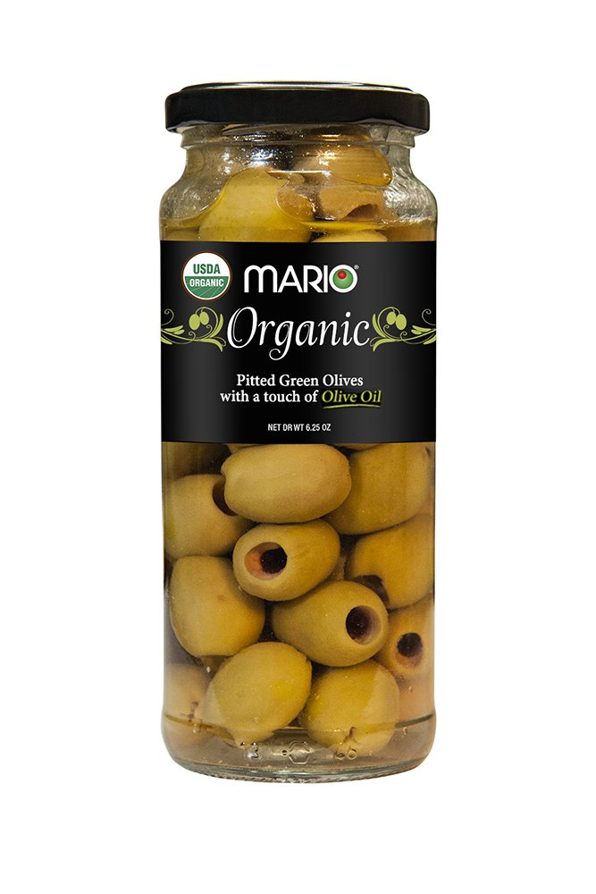 Mario Camacho Greek Organic Green Olives Pitted with Touch of Olive Oil, 6.25 Ounce