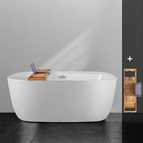 FerdY 59 Freestanding Bathtub One Side Wide Ledge Oval Shape Freestanding Soaking Bathtub