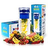 Basily Infuser Water Bottle - 28 ounce - Made with Commercial Grade Tritan-Blue, Blue