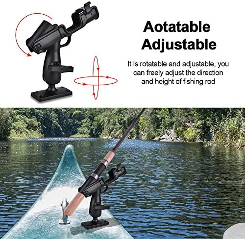 Adjustable Fishing Rod Pole Mount Stand Holder Bracket Kit For Kayak Canoe Boat