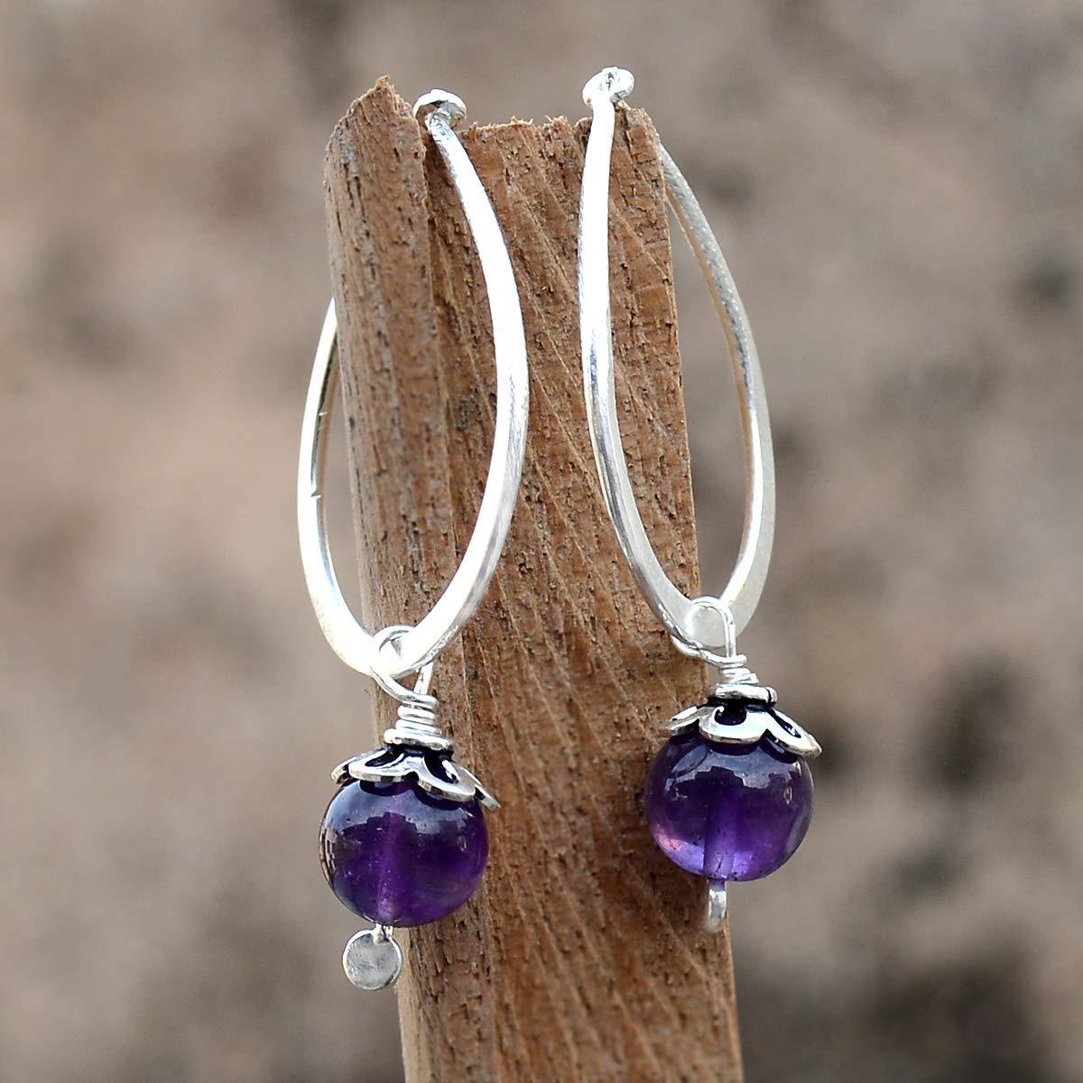 Saamarth Impex Amethyst Gemstone 925 Sterling Silver Earring PG-156045