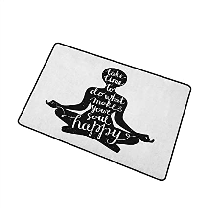 Amazon.com : Yoga Non Slip Doormat Black Silhouette with ...