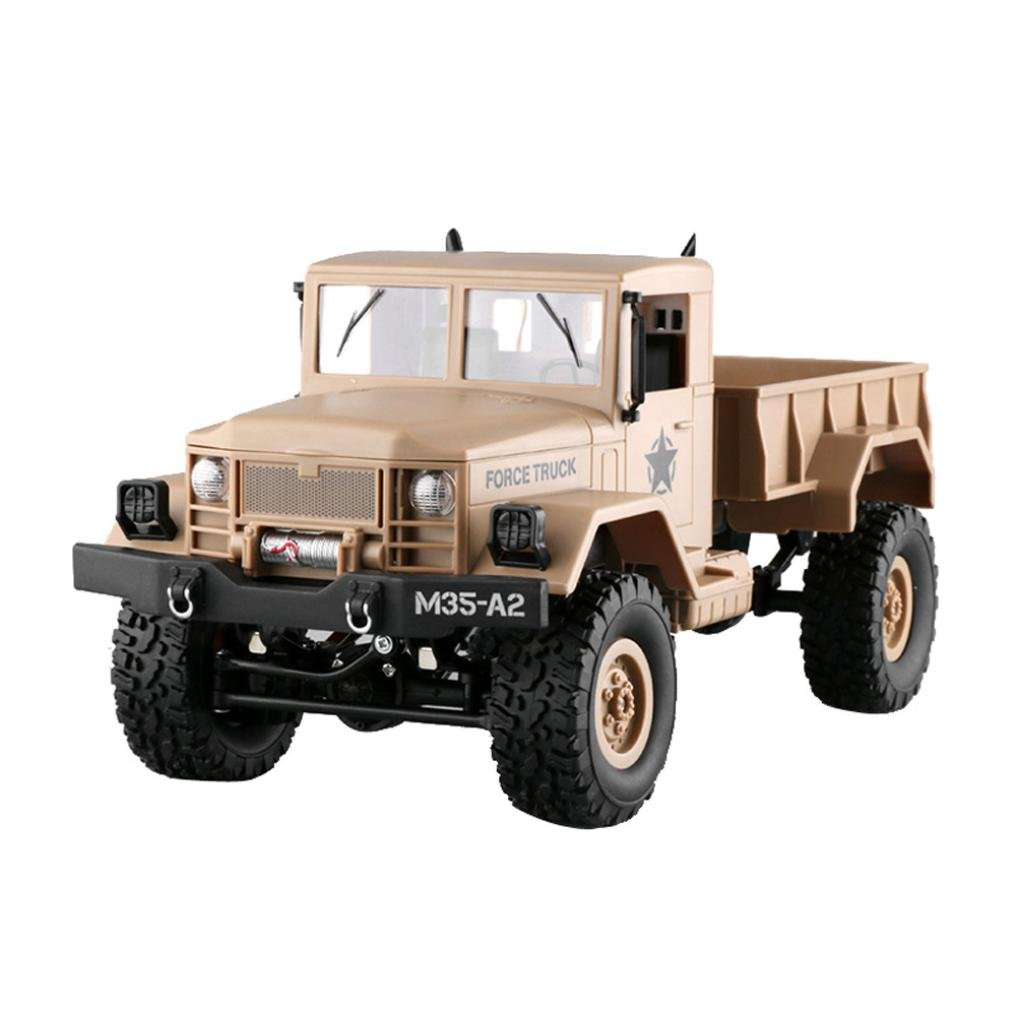 Gbell Army Off-Road Car RC Military Truck,1:16 4WD Tracked Wheels 2.4Ghz Radio Control Crawler RTR Buggy Hobby Car for Boys Birthday New Year Gifts (Yellow)