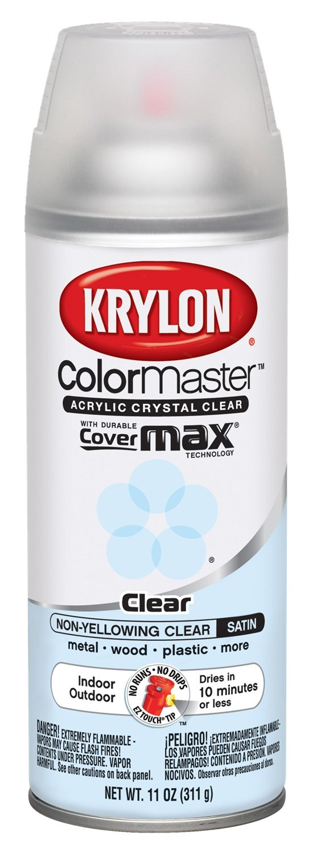 Krylon K05131307 Satin Finish Crystal Clear Interior and Exterior Top Coat - 11 oz. Aerosol