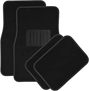 OxGord Luxe Carpet Floor Mats Set for Car Rubber Lined All Weather Heavy Duty Protection for All Vehicles 4 Piece, Black
