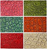 Upon Leather - 6 Genuine Leather Pieces. Embossed and Printed Croc Pattern Cowhide   Scraps 7'x 4.8' in.   Sheets pre-Cut from Whole hides   for Crafts, Earrings, Jewelry   Bright Happy Colors