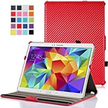 MoKo Samsung Galaxy Tab S 10.5 Case - Slim-Fit Multi-angle Folio Cover Case for Samsung Galaxy Tab S 10.5 Inch Android Tablet, Carbon Fiber RED (With Smart Cover Auto Wake / Sleep)
