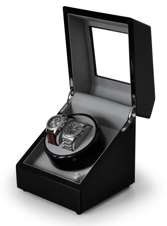 Klarstein Old Marshall Uhrenbeweger Uhrendreher Uhrenbox (fÜr 2 Automatikuhren - verschiedene Bewegungs-Modi - Pianolack