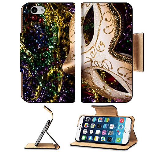 Luxlady Premium Apple iPhone 6 iPhone 6S Flip Pu Leather Wallet Case iPhone6 IMAGE ID: 26111871 Colorful Mardi Gras Mask with beaded (Carnavale Costumes)