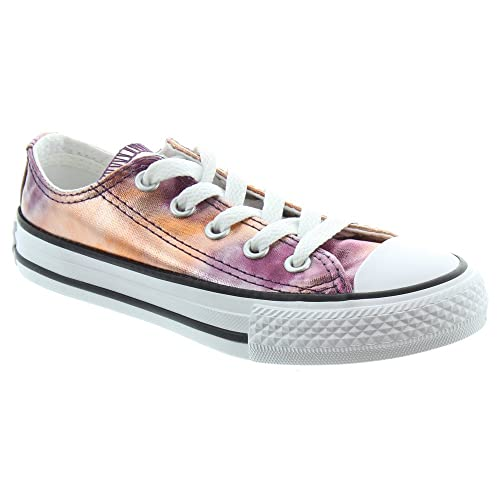 Converse Kids Metallic All Star Ox Lace Shoes In Pink, 2 UK Baby