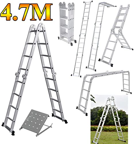 Escalera multiusos 14 en 1 (15.5 pies) 4,7 m plegable Multi escalera de aluminio extensible escalera resistente 150 kg de capacidad de carga fabricado a EN131 con 1 bandeja de herramientas: Amazon.es: Bricolaje y herramientas