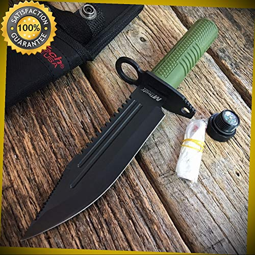 FIXED-BLADE SURVIVAL KNIFE Mtech Stoash Blade Green Bayonet Kit for Hunting Camping Cosplay