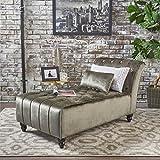 Rafaela | Living Room Chaise Lounge | Button Tufted | Corded | New Velvet in Grey