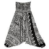 Dainzuy Unisex Print Pants,Women's Summer Loose Casual Boho Aladdin Jumpsuit Harem Yoga Pants (Free Size, Black)