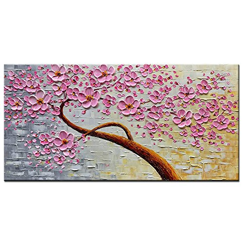 Pink Brown Wall Decor (Okbonn-100% Hand Painted 3D Oil Paintings on Canvas Large Modern Abstract Wall Art Texture Picture Purple Pink Plum Blossom Art for Living Room Bedroom Wall Decor (24X48 inch))