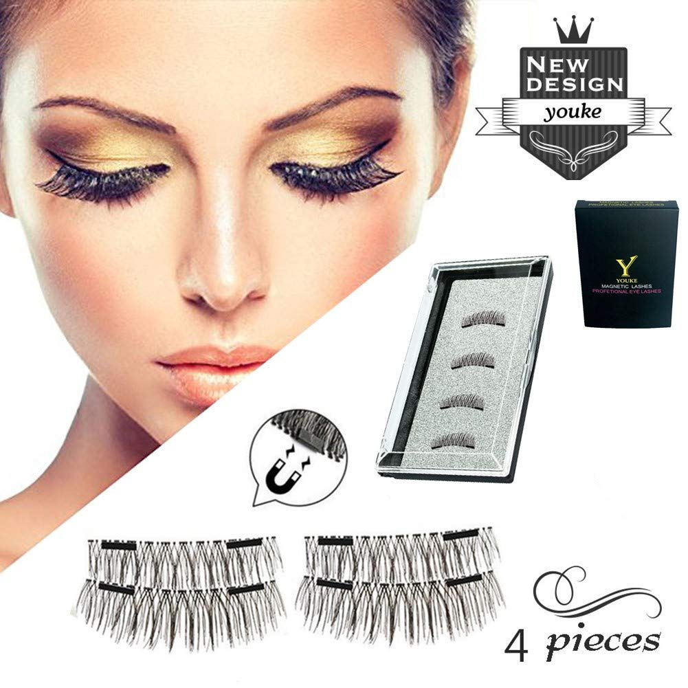 2018 Version Long Dual Magnetic Eyelashes, 0.2mm Ultra Thin Two Magnets False Eyelashes, 3D Reusable Fake Lashes, Natural Look 1 Pair/4 Pieces YOUKE