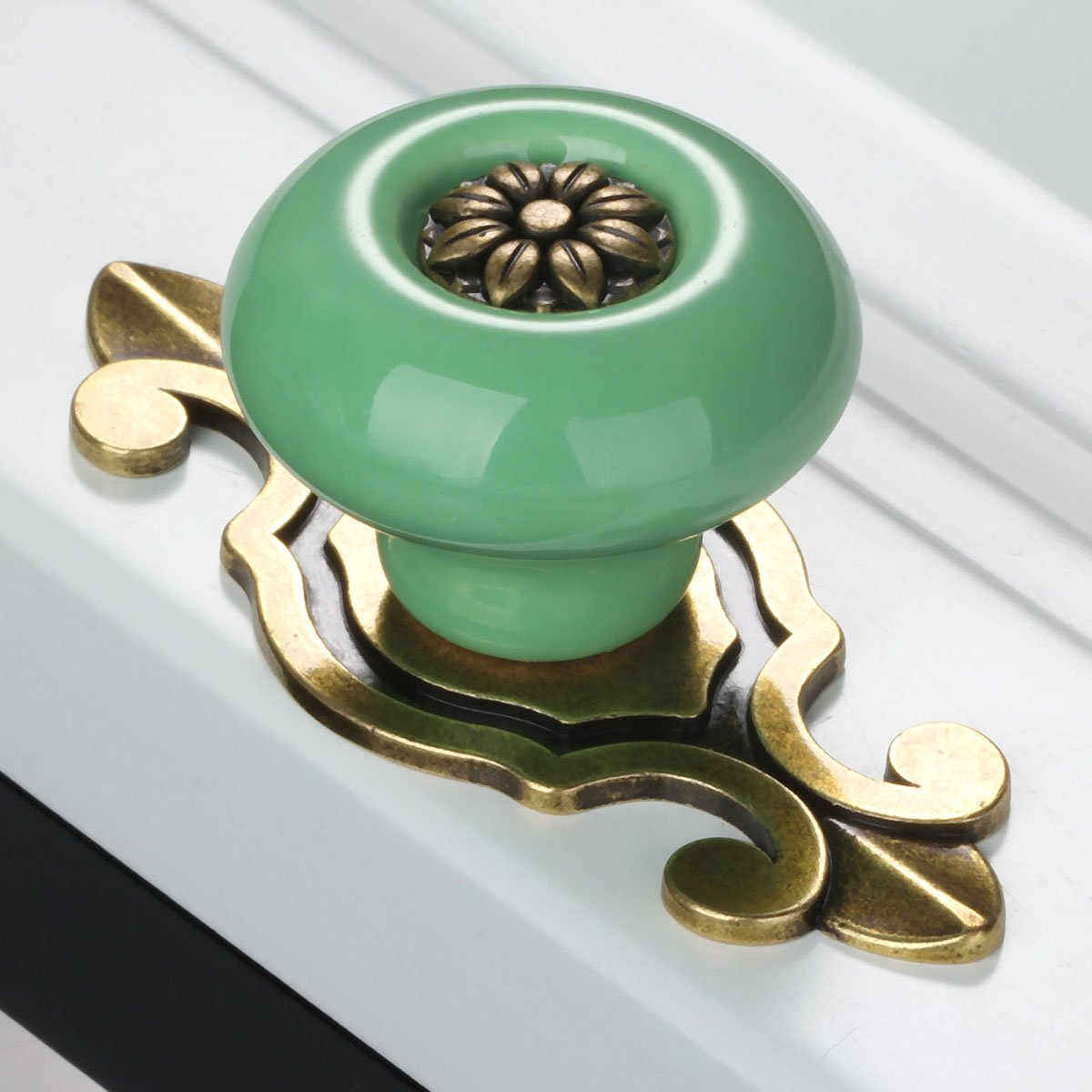 Green-Bronze Corasays 2 in 1 Vintage Ceramic Drawer Cabinet Knobs and Pulls for DIY Home Furniture Cabinet Dresser Cupboard Bin Door Handles Pack of 8
