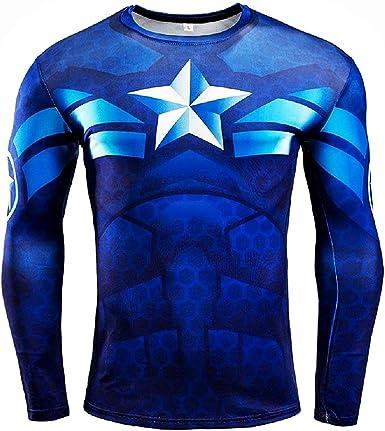 Camisa de Manga Larga para Hombre - Camiseta de capitán américa - niño - Deportes - Idea de Regalo de cumpleaños: Amazon.es: Ropa y accesorios