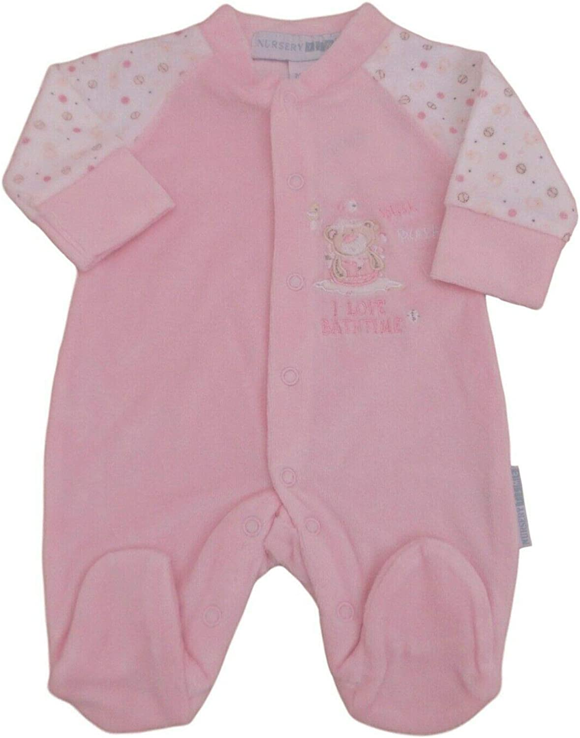 Baby Pink or Blue Velour bathtime Sleepsuit All in one Nursery Time with Tags