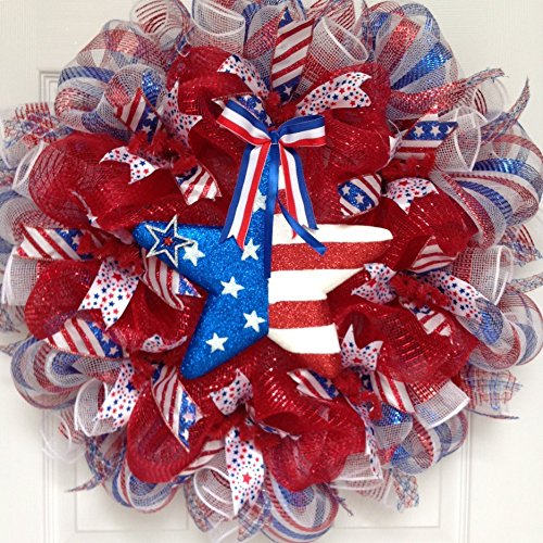 Glittering Patriotic Star Red White and Blue Handmade Deco Mesh Wreath