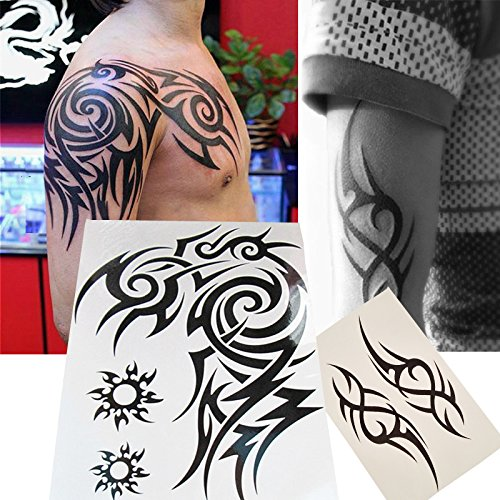 Totem Temporary Tattoo (Kotbs 2 Sheets Waterproof Large Temporary Tattoos Men Tribal Totem Tattoo Sticker Make up Body Art Fake Tattoo)