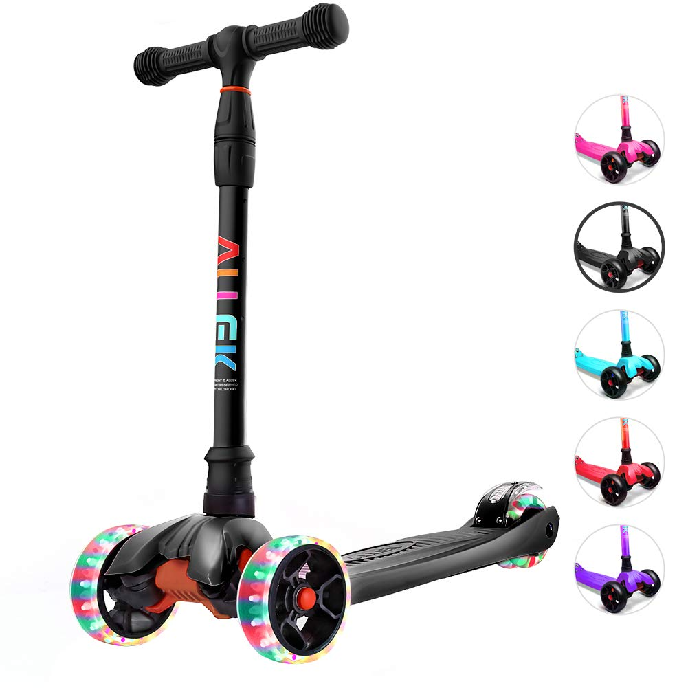Allek Kick Scooter, 3-Wheeled Lean 'N Glide Scooter with PU Light-up Wheels and 4 Adjustable Heights for Children from 3-14yrs (Black)