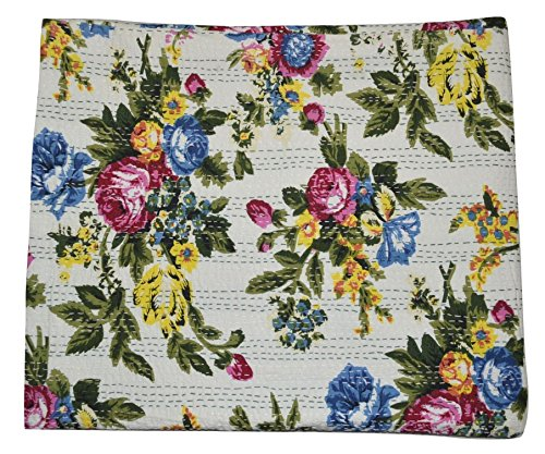 Mad Max Handcrafted, Decorative, Reversible, Queen Floral Quilt, Kantha Stitch Quilt, Throw, Bed Spread. X1010