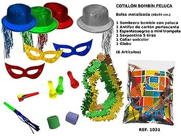 CAPRILO Lote de 10 Bolsas de Cotillones Decorativas Bombín-Peluca. Cotillón  para Fiestas y a2fc15632ac