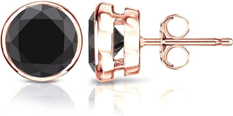 Black Diamond Bar stud earring Rose Gold diamond bar stud diamond staple stud black full cut diamond line stud solid 14k gold