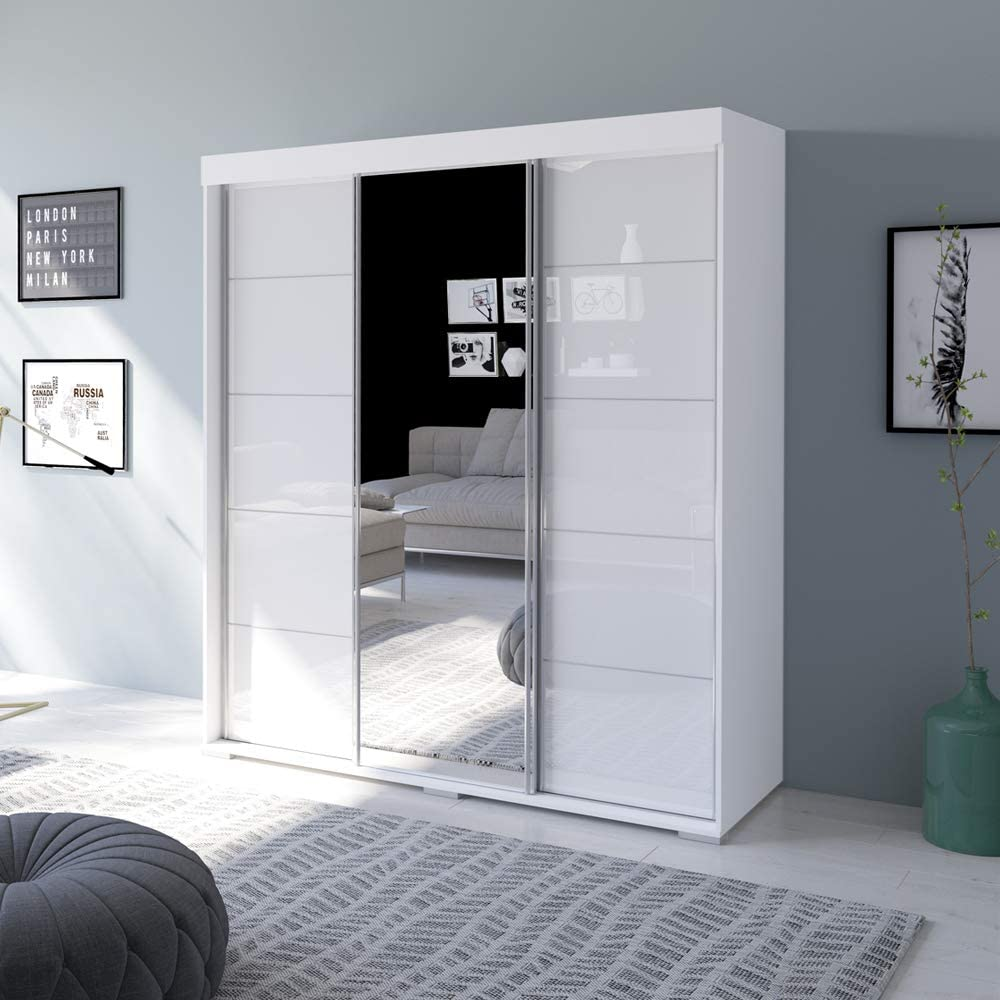 Amazon Com Aria 3 Door 71 Wide Modern High Gloss Wardrobe Armoire White With Mirror Kitchen Dining
