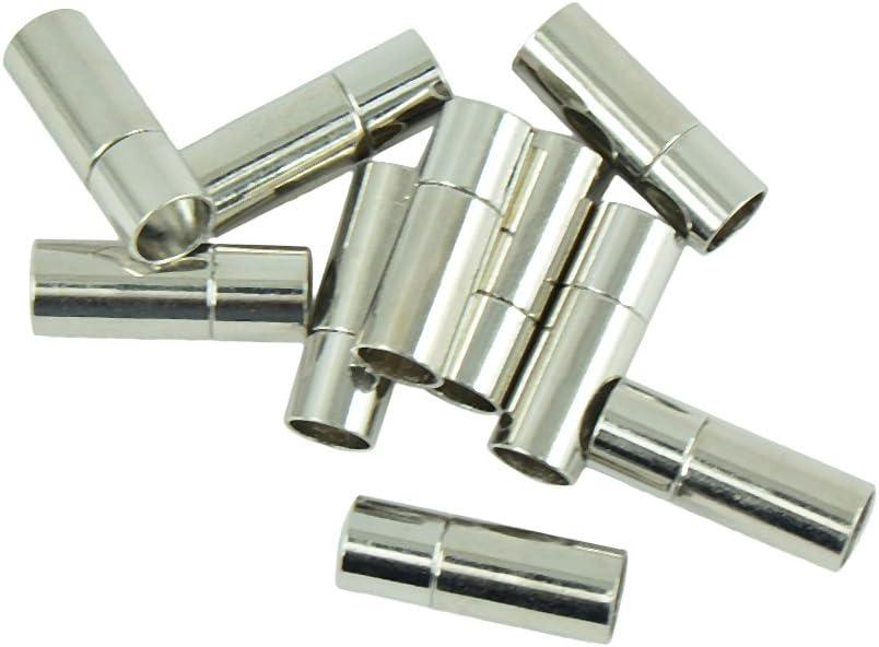 Non-brand 10 Sets Pegamento De Cuero Plateado En Bayoneta Pulsera De Tubo Pulsador De Cierre Broche De Joyer/ía DIY Hallazgos Hallazgos Conectores De Acoplamient 4mm