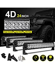 LED Light Bar 24 Inch Straight AUTO Work Light 4D 200W with 8ft Wiring Harness, 20000LM Offroad Driving Fog Lamp Marine Boating Light IP68 WATERPROOF Spot & Flood Combo Beam Light Bar, 2 Year Warranty