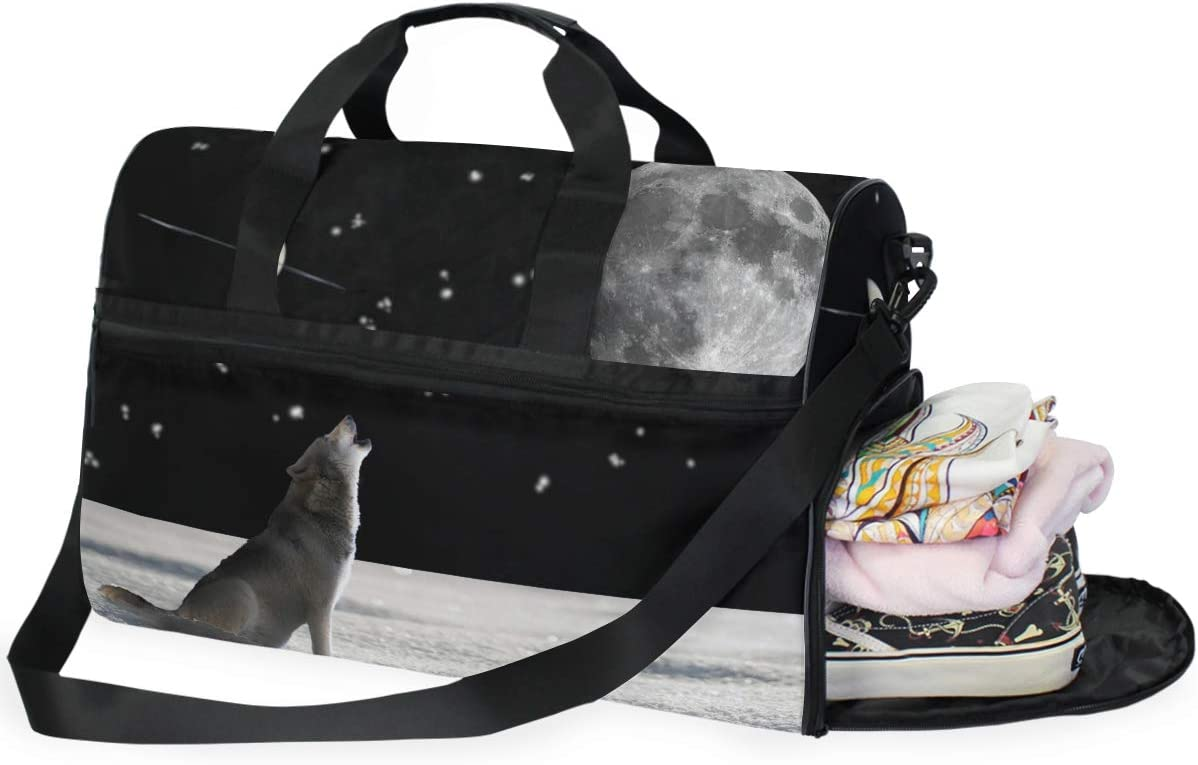 Cool Wolf In Space Sports Gym Bag with Shoes Compartment Travel Duffel Bag for Men and Women