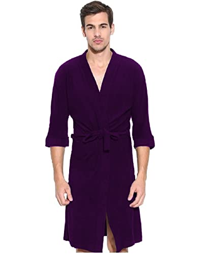 f363acd317 Buy Elevanto Premium Collection 3 4Th Sleeve Terry Cotton Bathrobe-Free  Size-Men(Purple) Online at Low Prices in India - Amazon.in