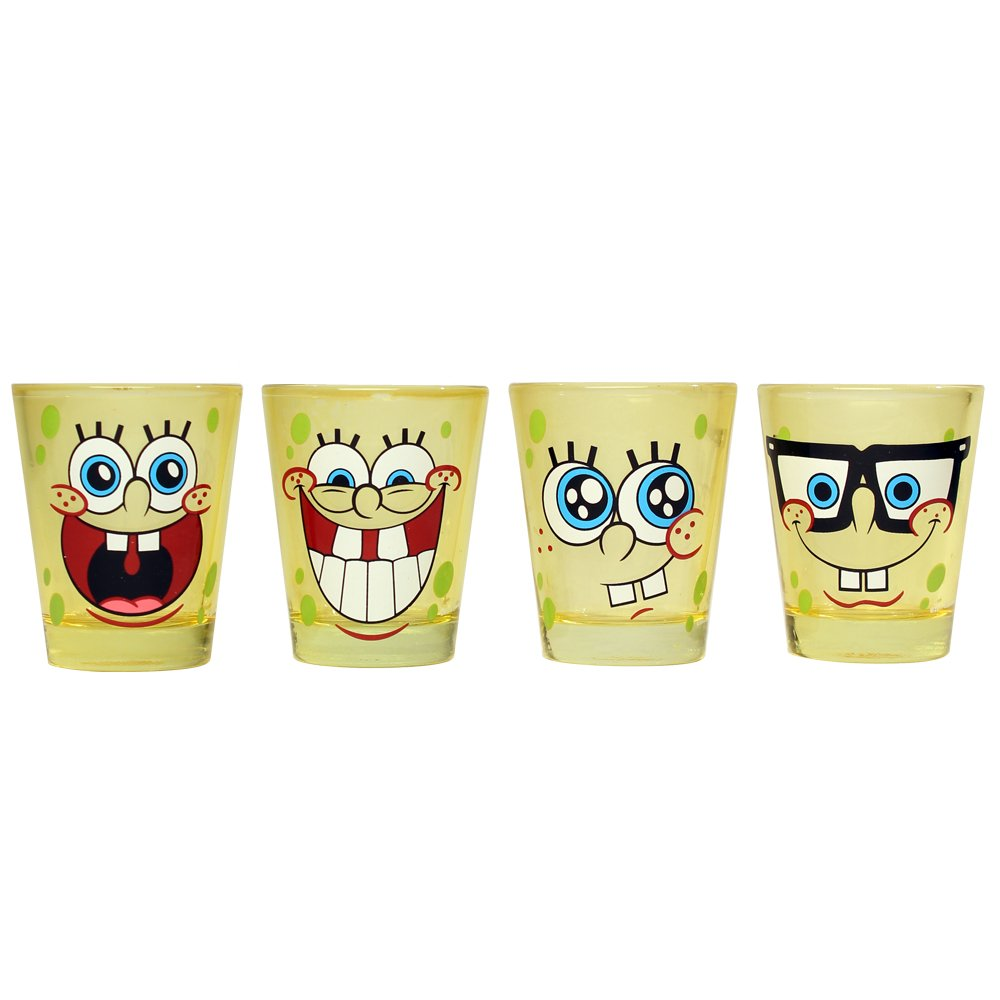 Silver Buffalo SG031SG1 Nickelodeon SpongeBob Faces Mini Glass Set, 4-Pack