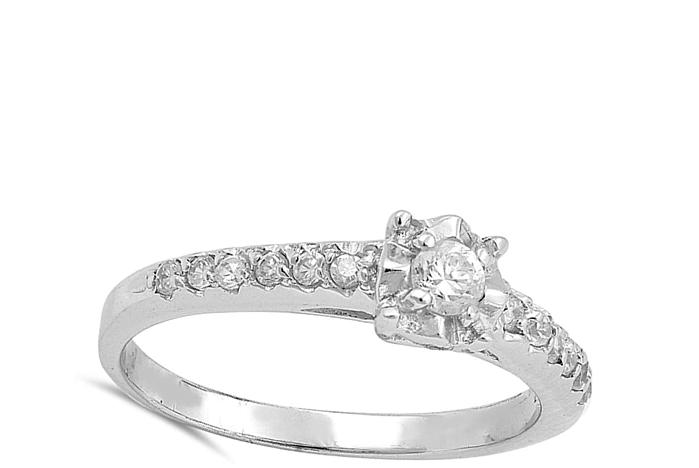 Clear CZ Polished Wedding Ring New .925 Sterling Silver Band Sizes 5-10