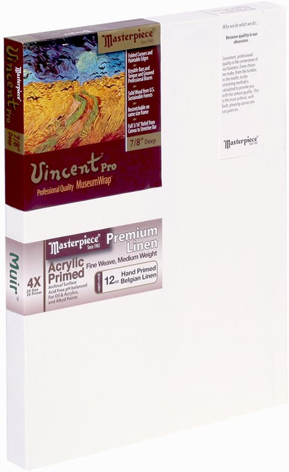 4X Muir Acrylic Primed 20 x 24 Linen/12.0oz Masterpiece Artist Canvas 42251 Vincent PRO 7//8 Deep