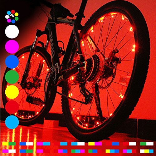 OUTDRSY [RGB] Bicycle Wheel Lights for Riding Bike at Night (Pack of 2), Waterproof Wheelchair Accessories LED Lights for Wheel with Bright 20 LEDs, A Thrilling Gift for Teens
