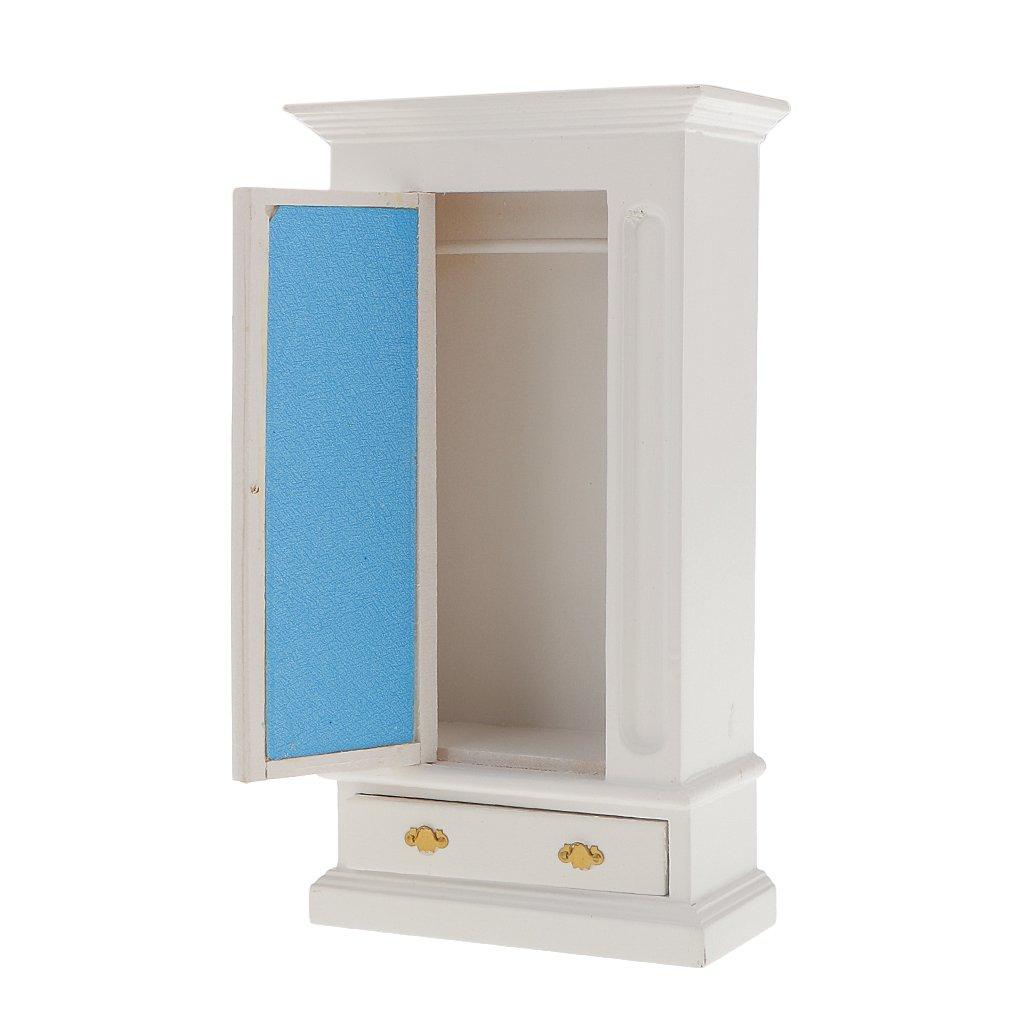 1:12 Casa de Muñecas en Miniatura Accesorio Armario de Madera - Blanco Generic