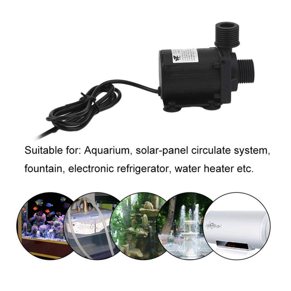 ZAOJIAO DC 12V Brushless Water Pump 1/2'' Male Thread Centrifugal Submersible Pump 800L/H 210GPH 5M/16ft for Fountain Solar Panel Pond Aquarium Water Circulation System by ZAOJIAO
