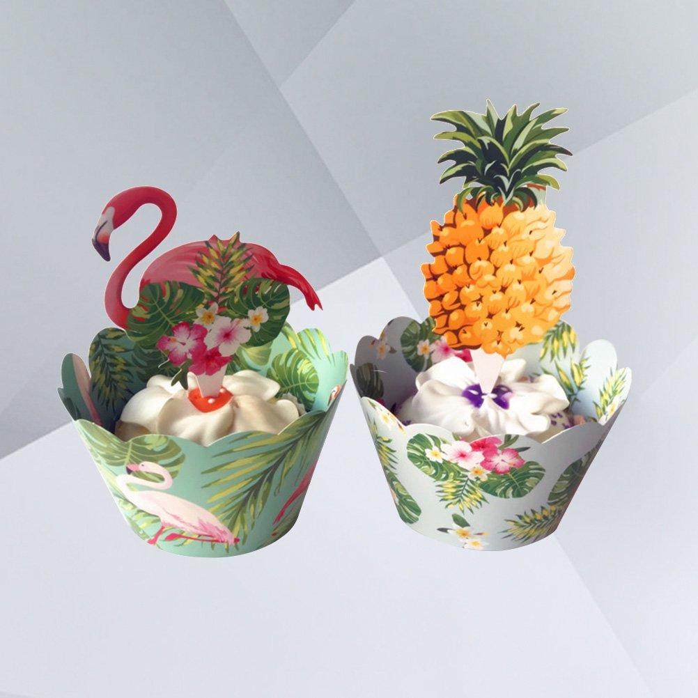 BESTONZON 24pcs Flamingo Kuchen Deckel tropische Regenwald Kuchen Verpackungen f/ür Partei Dekor