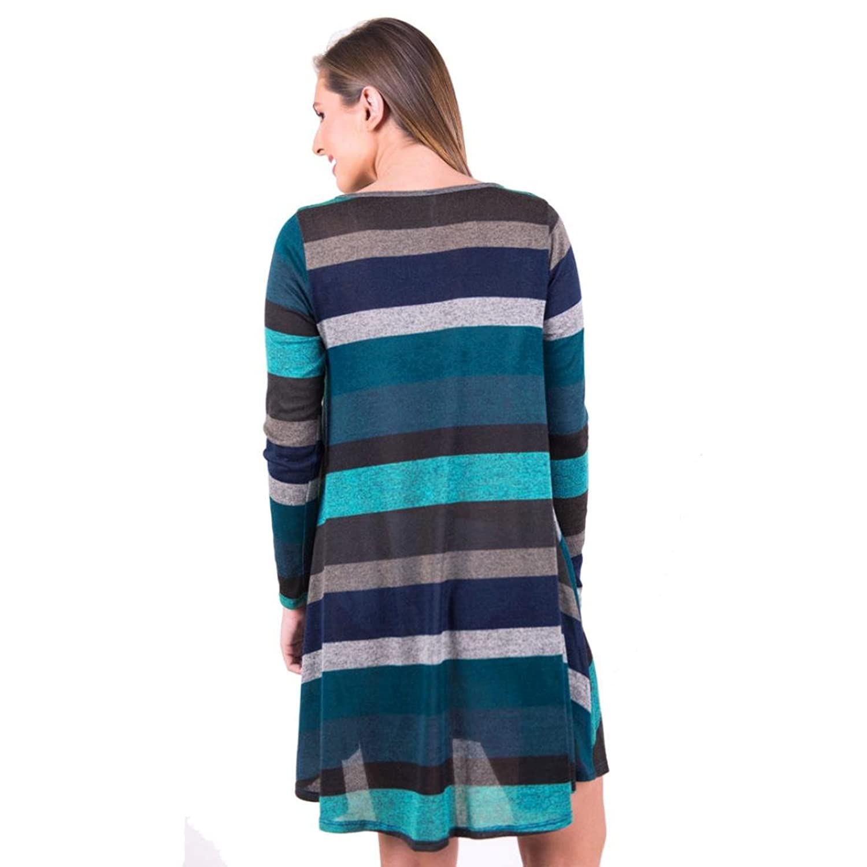 Longra Casual Shirtkleid Damen Kurz Blusenkleid T-Shirt Kleid ...