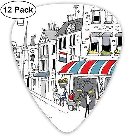 Dibujo de A Street en París Un café y The Street Lamp Guitar Picks ...