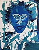 Original Oil Paintings Modern Art Contemporary Artwork Black People African American Africa Woman Women's Faces Portraits Blue Green Expressionism Expressionist Semi-Abstract Certificate Authenticity