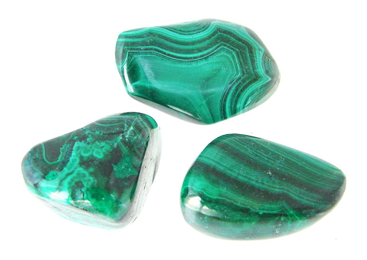 TANGLZ Malachite Natural Rolled Stone 2cm to 3cm - An important protection stone, absorbing negative energy STO-0022TZ