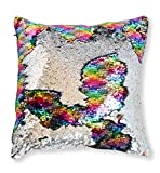 ANKIT Mermaid Pillow Reversible Sequin Pillow that Changes Color - Holographic Rainbow Silver