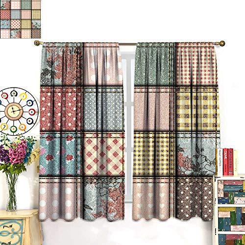 Anniutwo Shabby Chic Decor Blackout Curtain Patchwork Denim Seem Fabric Pieces Stitches Square Tile Digital Print Blackout Draperies for Bedroom Multicolor W63 x L72 - Patchwork Curtains Shabby