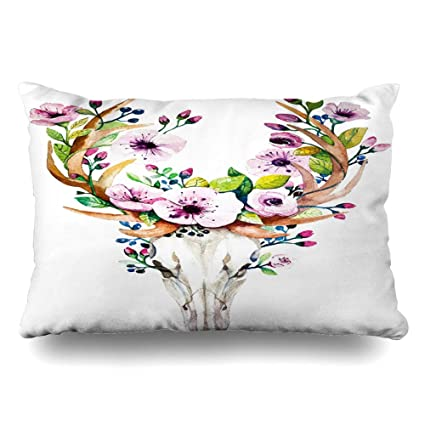 Fantastic Diycow Throw Pillows Covers Western Bohemian Watercolor Peony Mystical Deer Wildlife Vintage Nature Cushion Case Pillowcase Home Sofa Couch Queen Size Inzonedesignstudio Interior Chair Design Inzonedesignstudiocom