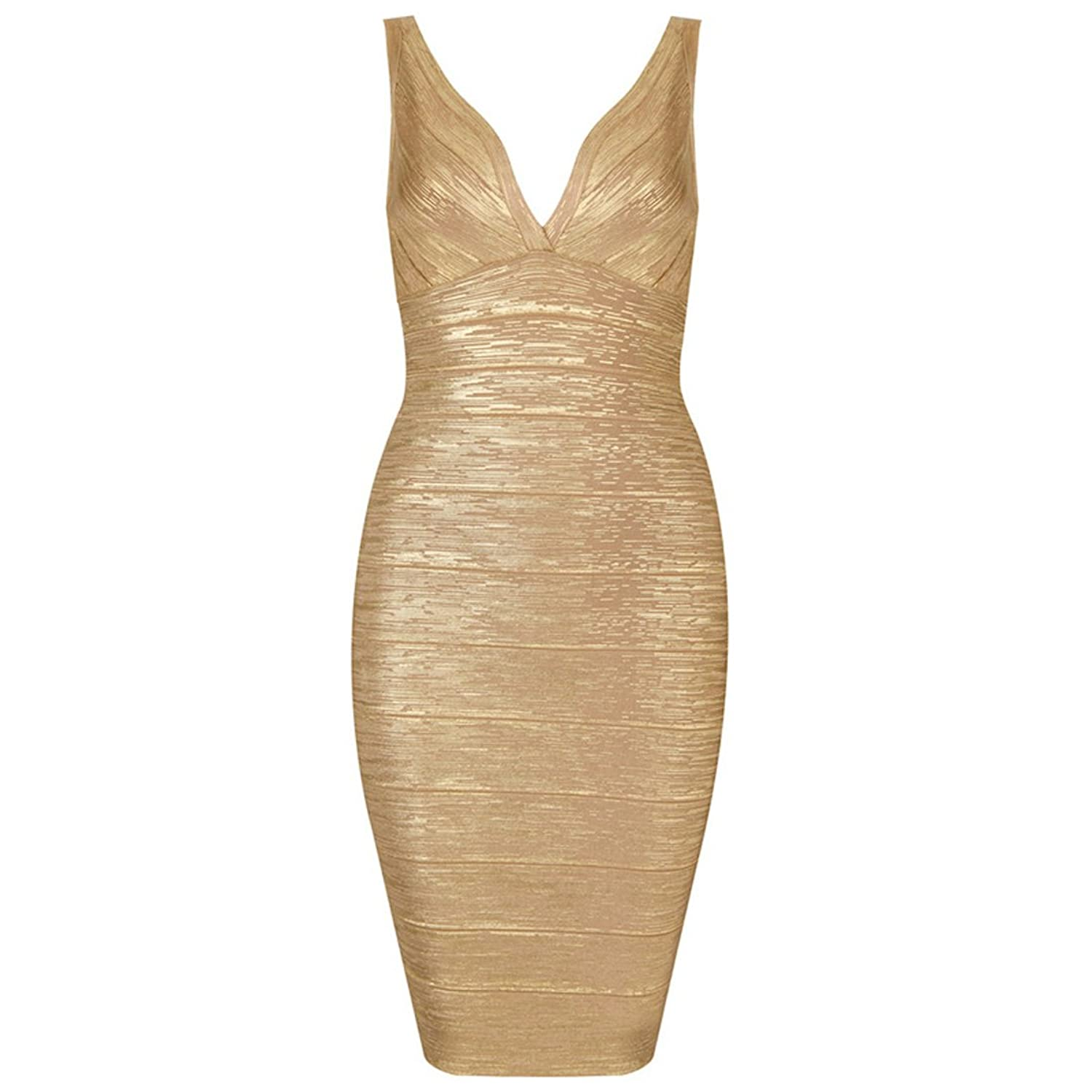 Whoinshop Damen sexy V Ausschnitt Verband Bodycon Foil Kleid