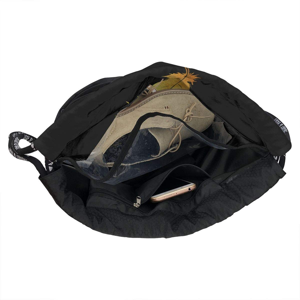 Large Storage Waterproof Cinch Backpack Sackpack Tote Sack for Gym Travel Zol1Q Gold Feather Drawstring Bag for Men /& Women
